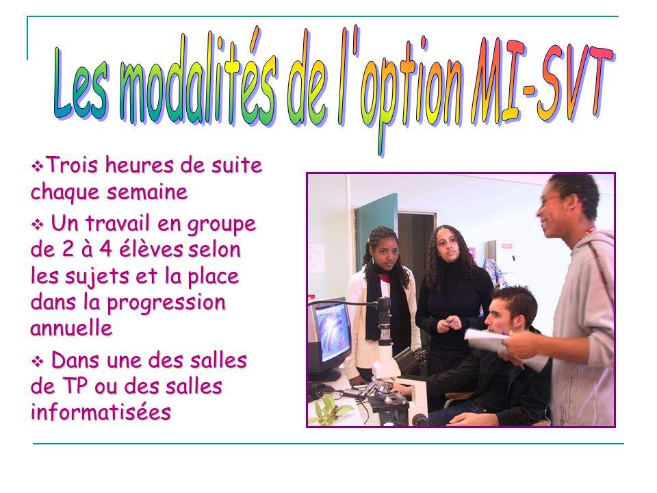 Les modalités de l option MI-SVT