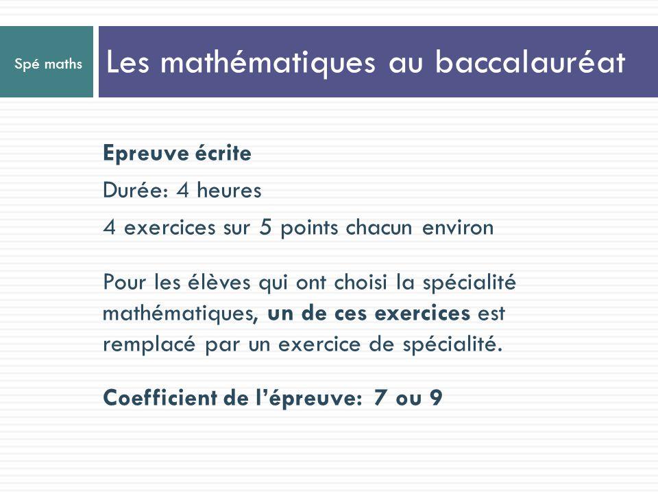 Les mathématiques au baccalauréat