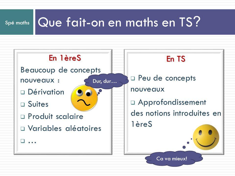 Que fait-on en maths en TS