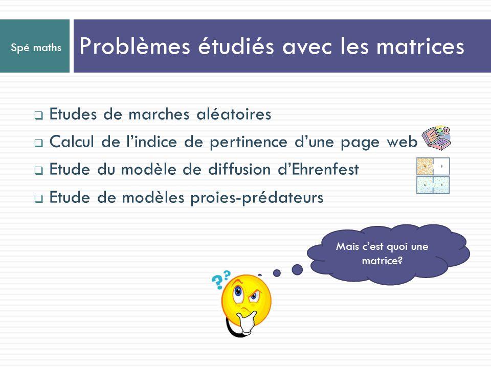 Problèmes étudiés avec les matrices