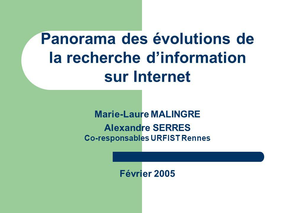 Panorama des évolutions de la recherche d'information sur Internet