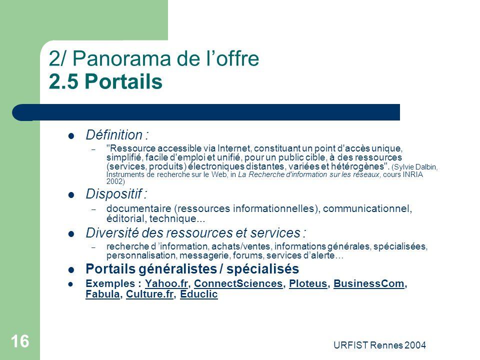 2/ Panorama de l'offre 2.5 Portails