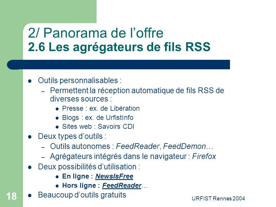 2/ Panorama de l'offre 2.6 Les agrégateurs de fils RSS