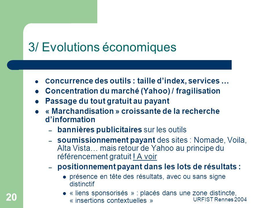 3/ Evolutions économiques