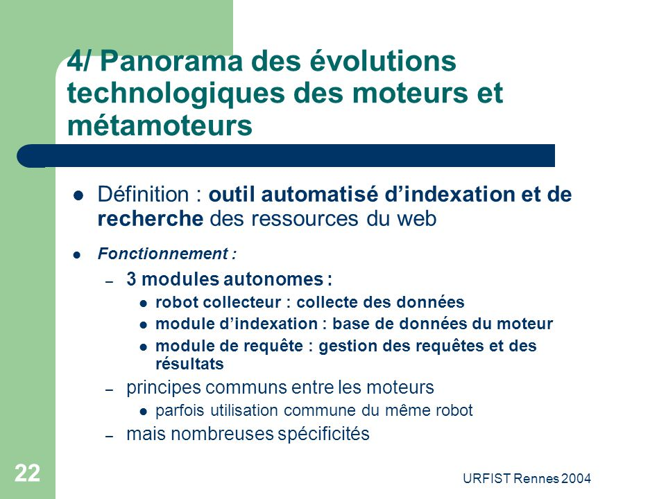 4/ Panorama des évolutions technologiques des moteurs et métamoteurs
