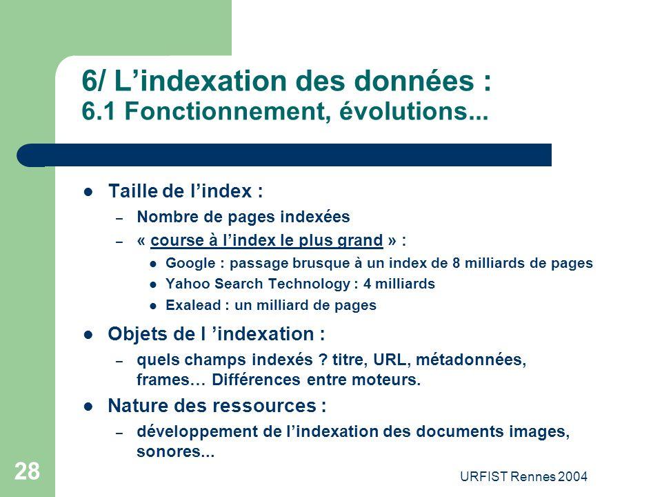 6/ L'indexation des données : 6.1 Fonctionnement, évolutions...