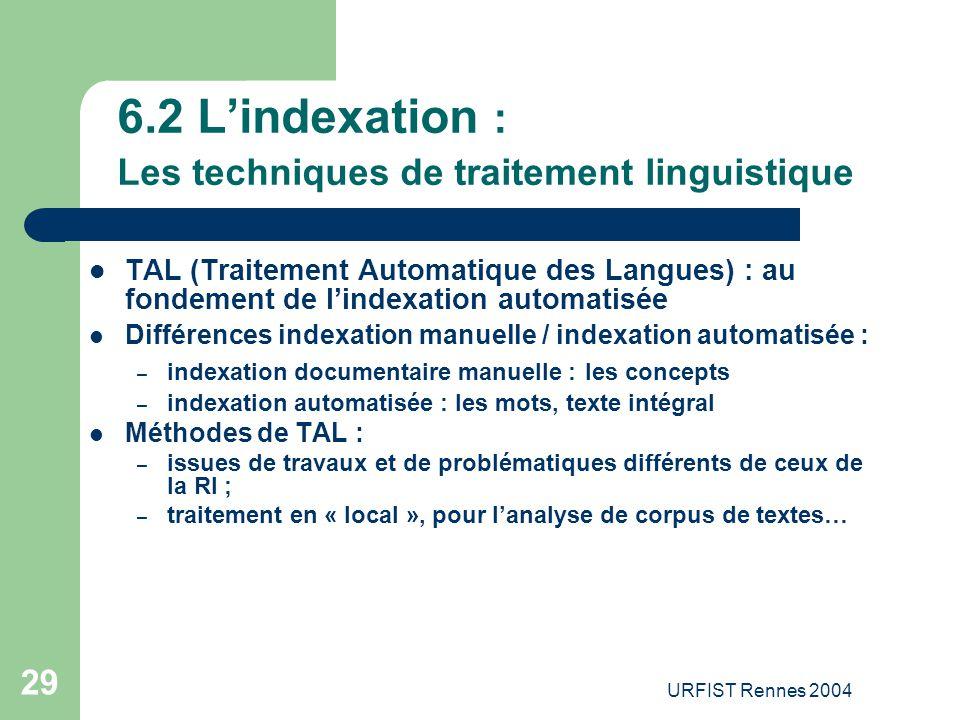 6.2 L'indexation : Les techniques de traitement linguistique