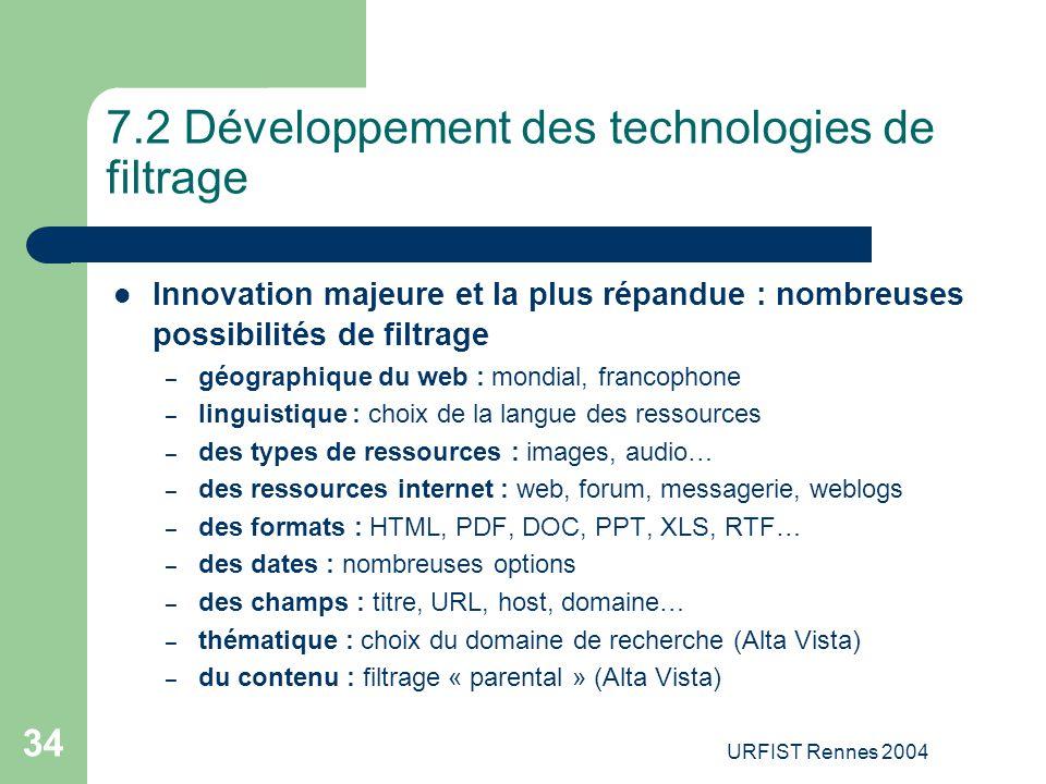 7.2 Développement des technologies de filtrage