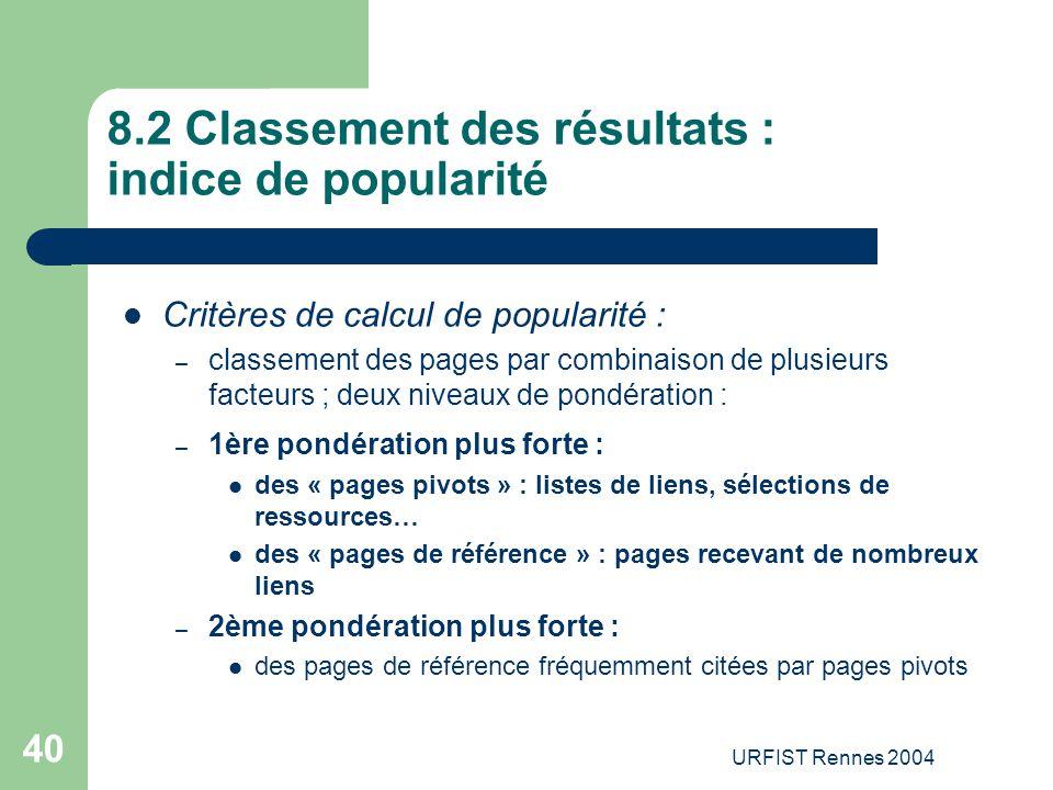 8.2 Classement des résultats : indice de popularité