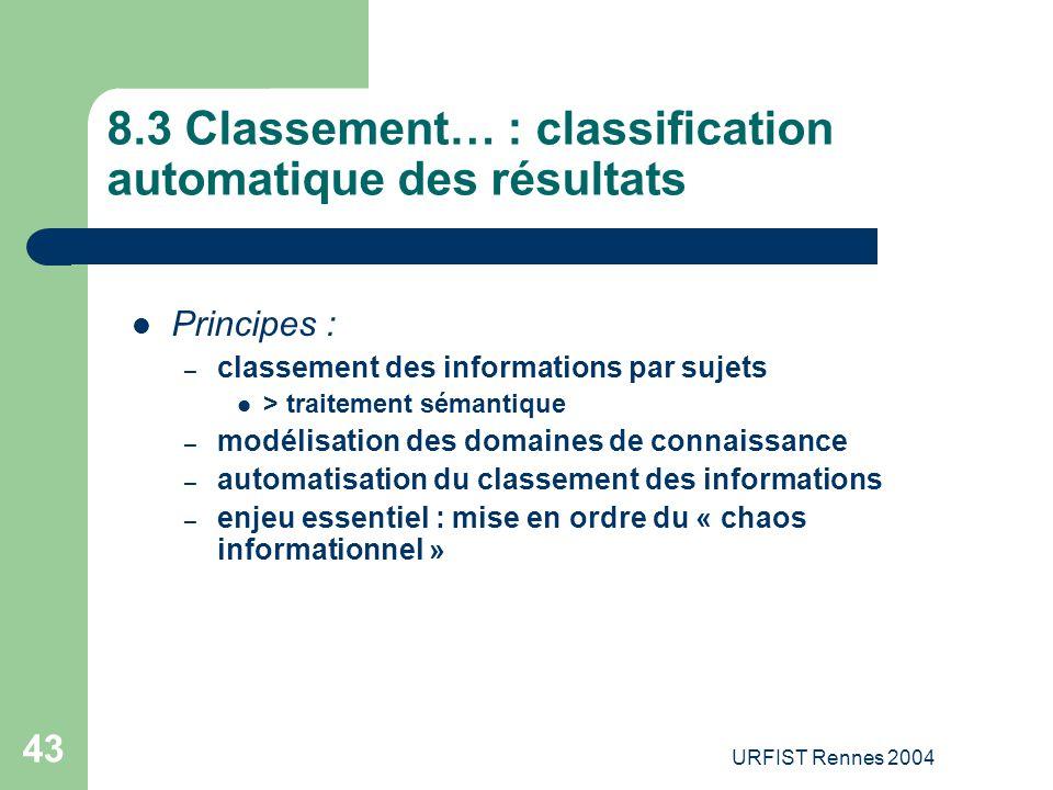 8.3 Classement… : classification automatique des résultats