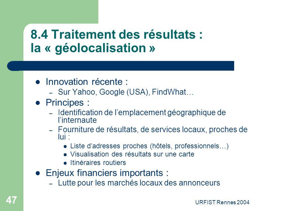 8.4 Traitement des résultats : la « géolocalisation »
