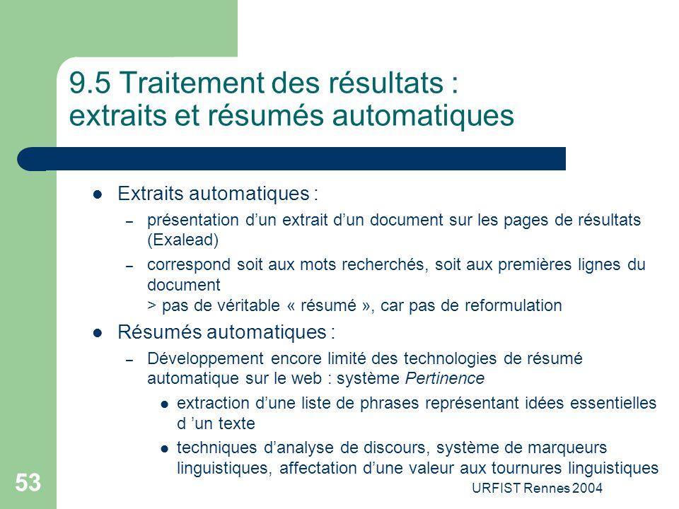 9.5 Traitement des résultats : extraits et résumés automatiques