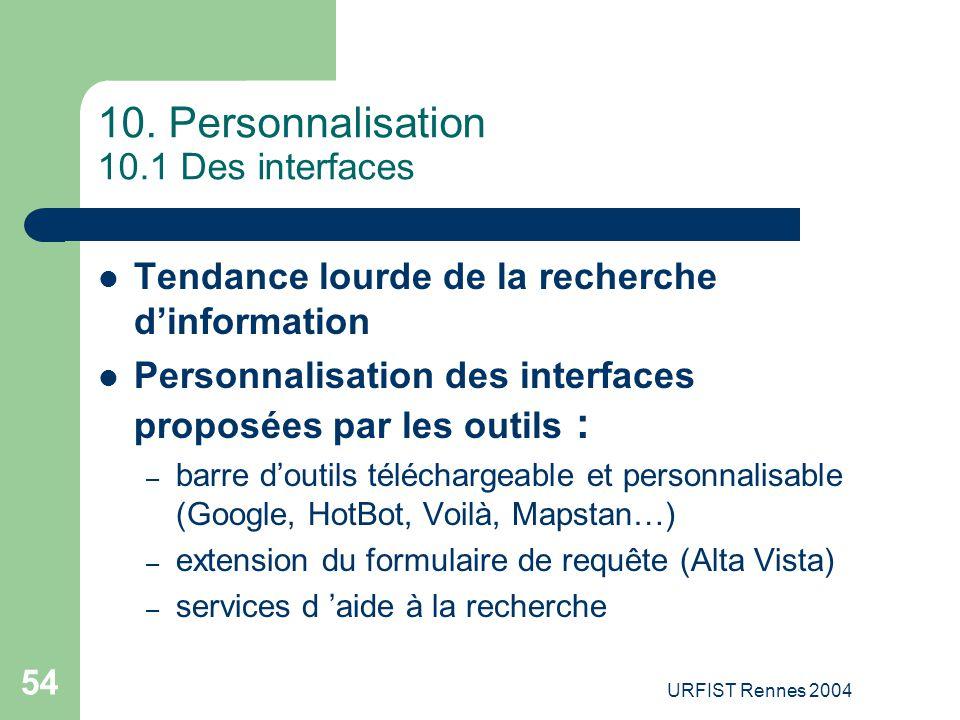 10. Personnalisation 10.1 Des interfaces