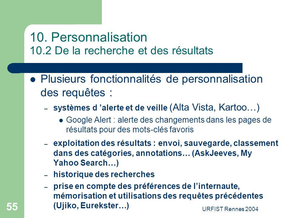 10. Personnalisation 10.2 De la recherche et des résultats