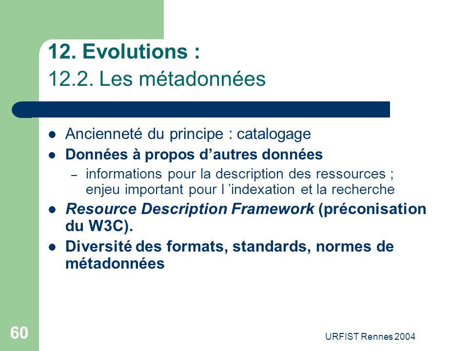 12. Evolutions : 12.2. Les métadonnées