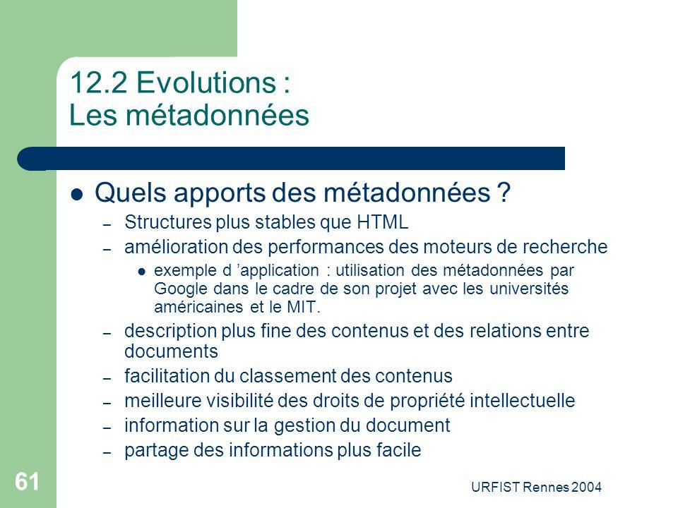 12.2 Evolutions : Les métadonnées