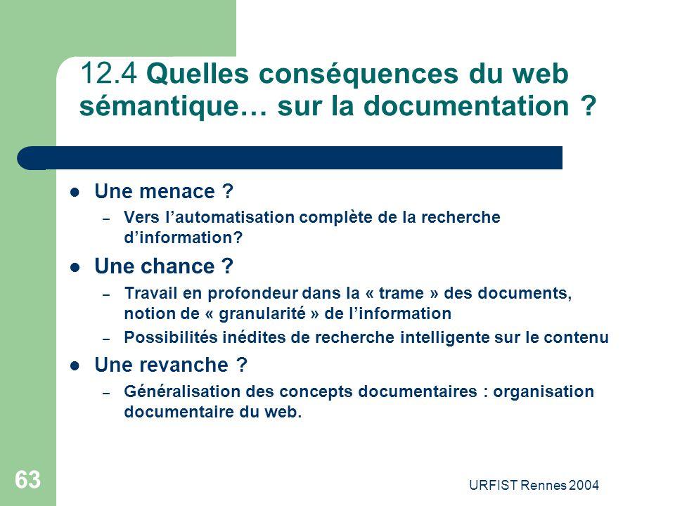 12.4 Quelles conséquences du web sémantique… sur la documentation