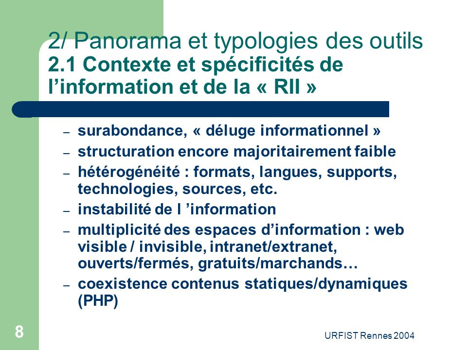 2/ Panorama et typologies des outils 2