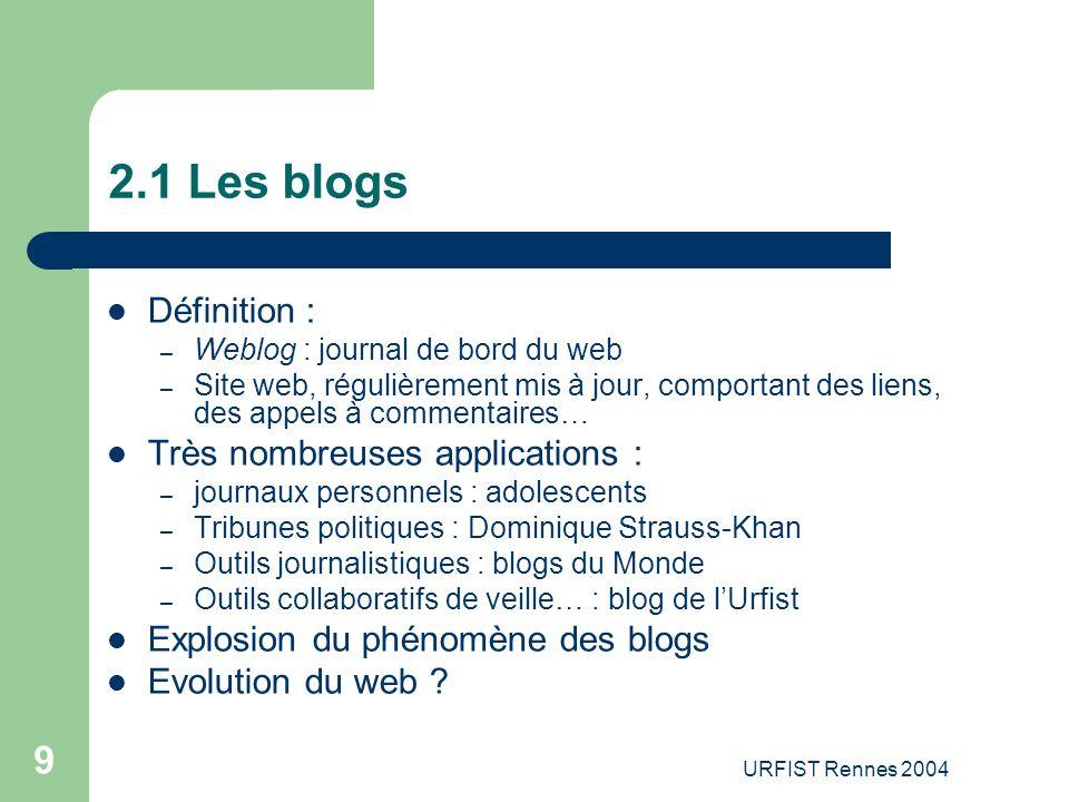 2.1 Les blogs Définition : Très nombreuses applications :