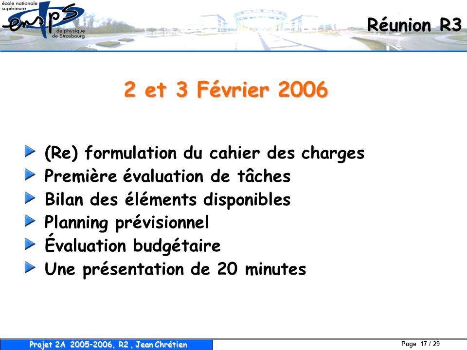 2 et 3 Février 2006 Réunion R3 (Re) formulation du cahier des charges