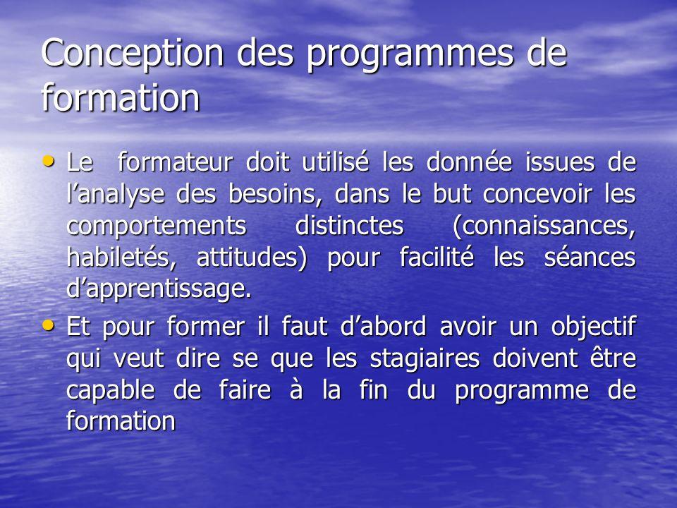 Conception des programmes de formation