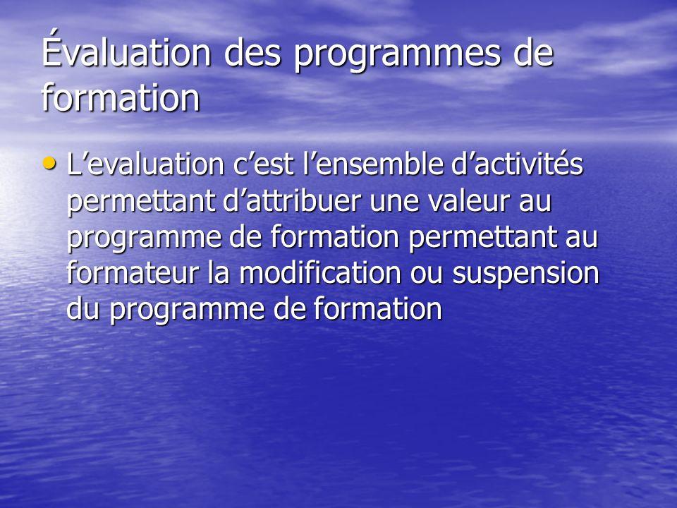 Évaluation des programmes de formation