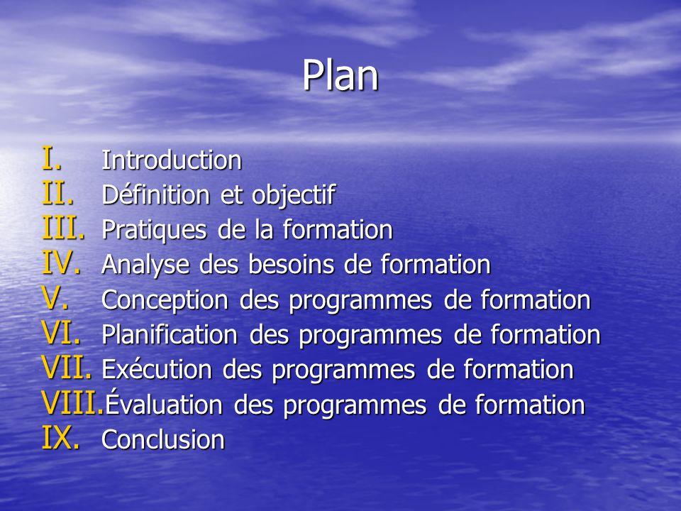 Plan Introduction Définition et objectif Pratiques de la formation
