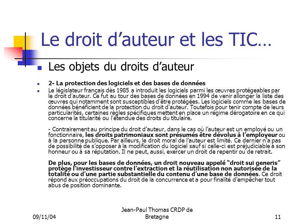 Le droit d'auteur et les TIC…