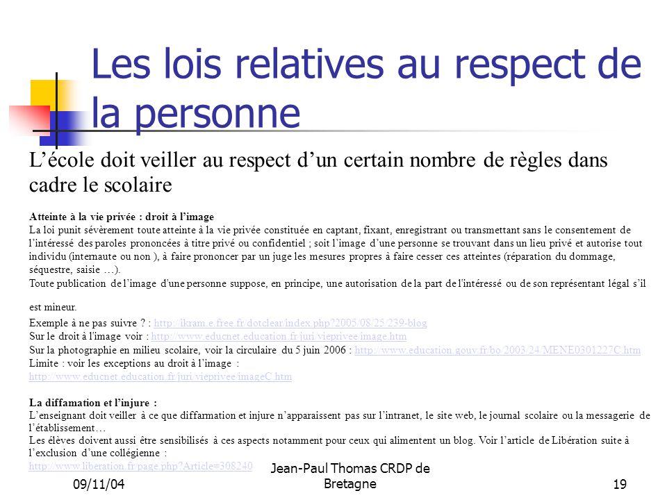 Les lois relatives au respect de la personne