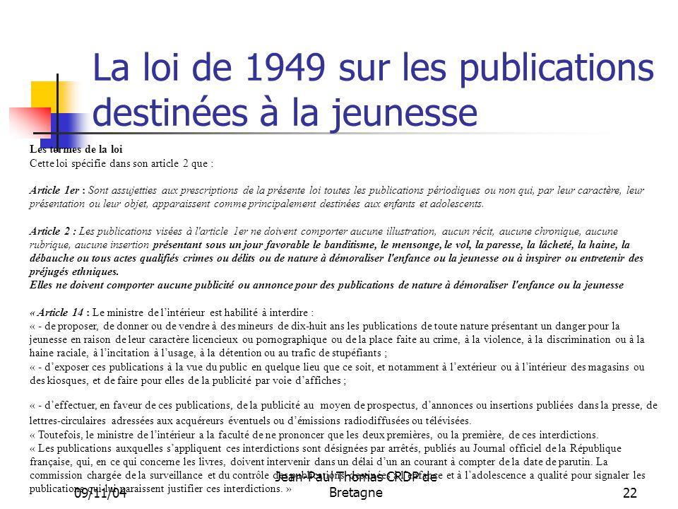 La loi de 1949 sur les publications destinées à la jeunesse