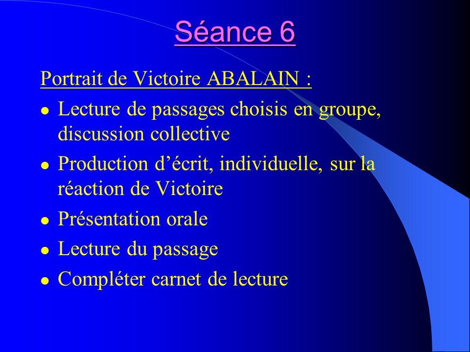 Séance 6 Portrait de Victoire ABALAIN :