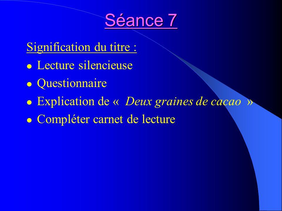Séance 7 Signification du titre : Lecture silencieuse Questionnaire