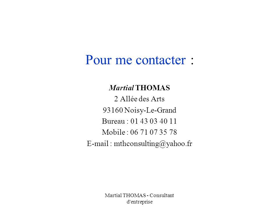 Pour me contacter : Martial THOMAS 2 Allée des Arts