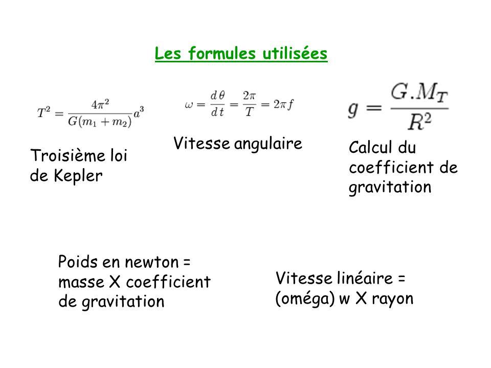 Les formules utilisées