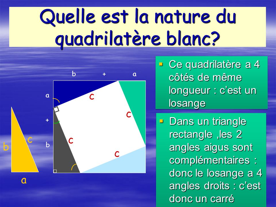 Quelle est la nature du quadrilatère blanc