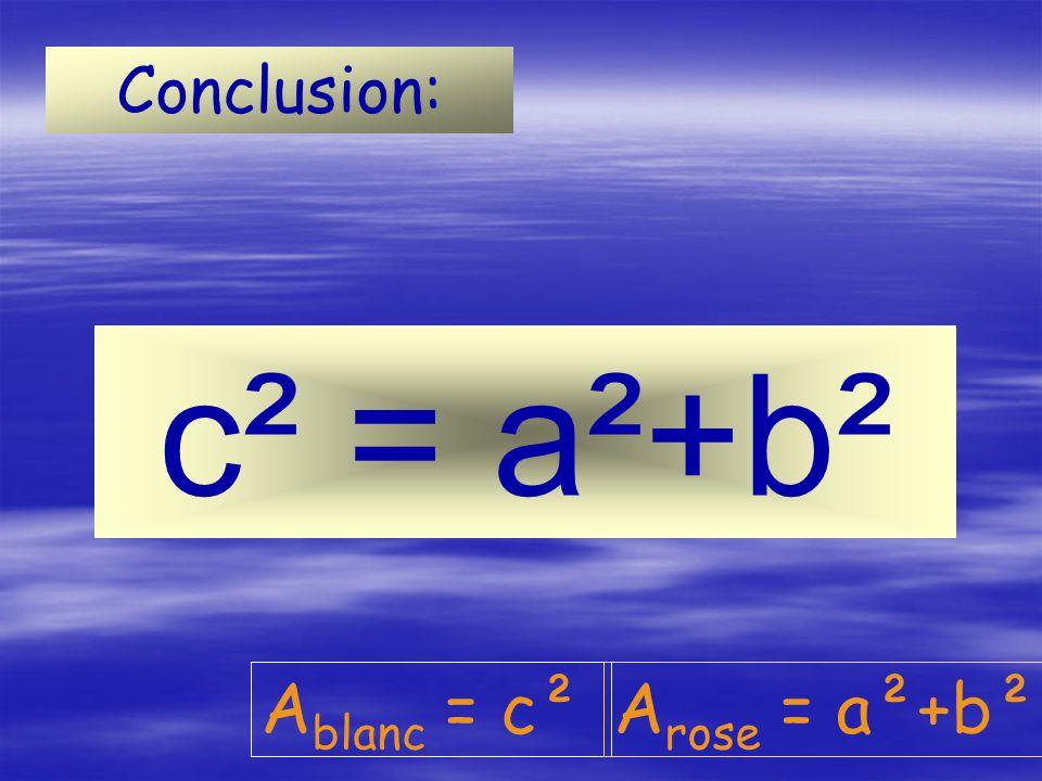Conclusion: c² = a²+b² Ablanc = c² Arose = a²+b²