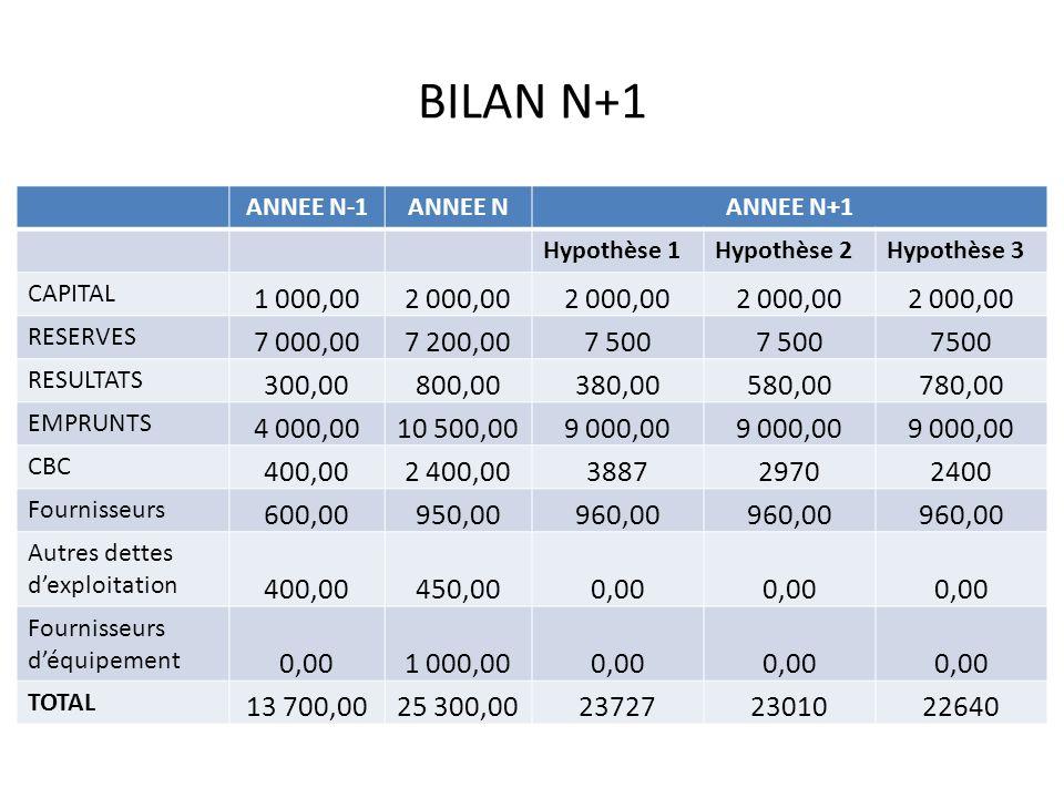 BILAN N+1 ANNEE N-1. ANNEE N. ANNEE N+1. Hypothèse 1. Hypothèse 2. Hypothèse 3. CAPITAL. 1 000,00.