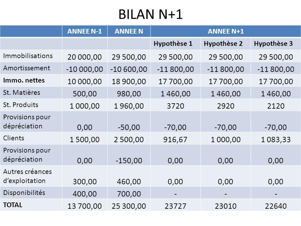 BILAN N+1 ANNEE N-1. ANNEE N. ANNEE N+1. Hypothèse 1. Hypothèse 2. Hypothèse 3. Immobilisations.