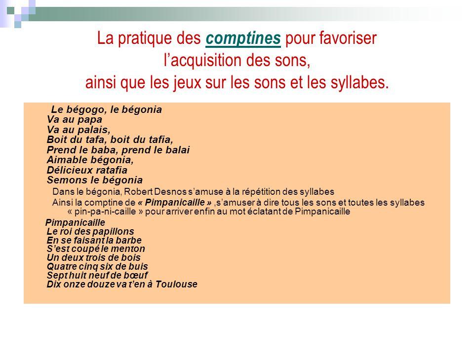 La pratique des comptines pour favoriser l'acquisition des sons, ainsi que les jeux sur les sons et les syllabes.