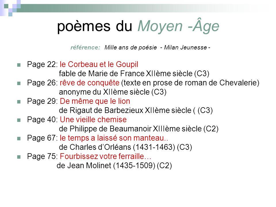 poèmes du Moyen -Âge référence: Mille ans de poésie - Milan Jeunesse -