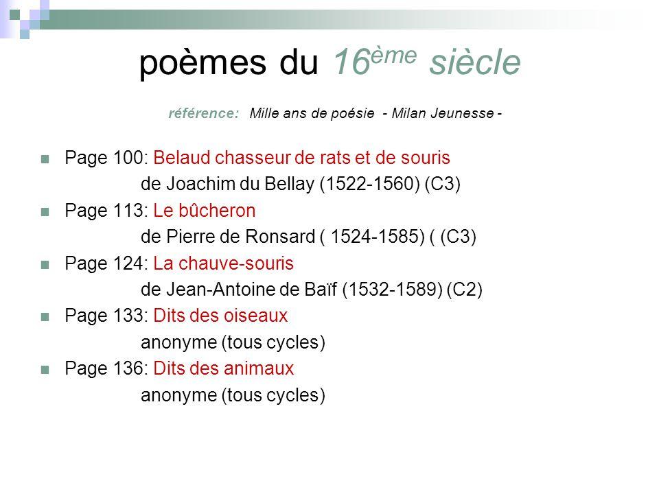 poèmes du 16ème siècle référence: Mille ans de poésie - Milan Jeunesse -