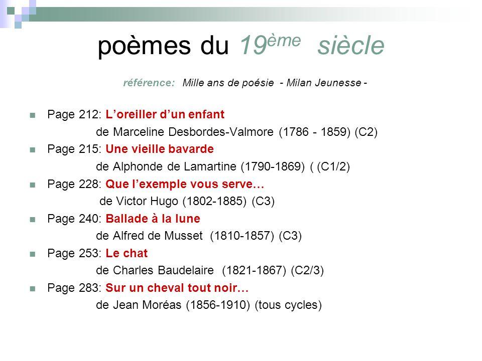 poèmes du 19ème siècle référence: Mille ans de poésie - Milan Jeunesse -
