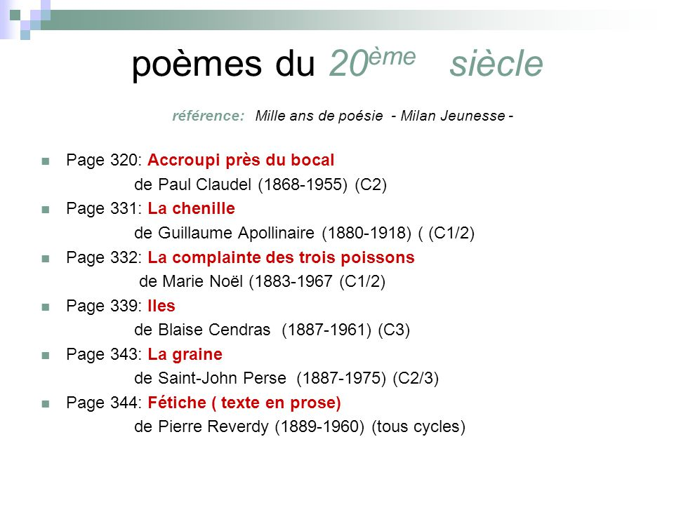 poèmes du 20ème siècle référence: Mille ans de poésie - Milan Jeunesse -