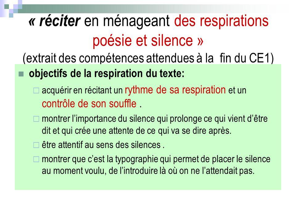 « réciter en ménageant des respirations poésie et silence » (extrait des compétences attendues à la fin du CE1)