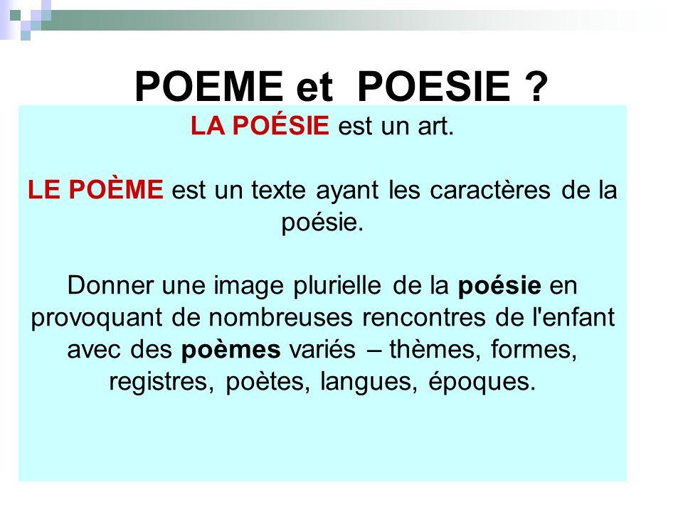LE POÈME est un texte ayant les caractères de la poésie.