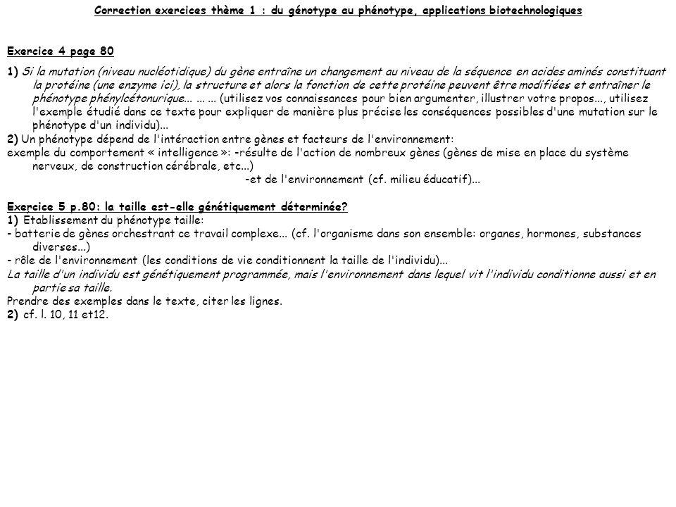 Correction exercices thème 1 : du génotype au phénotype, applications biotechnologiques