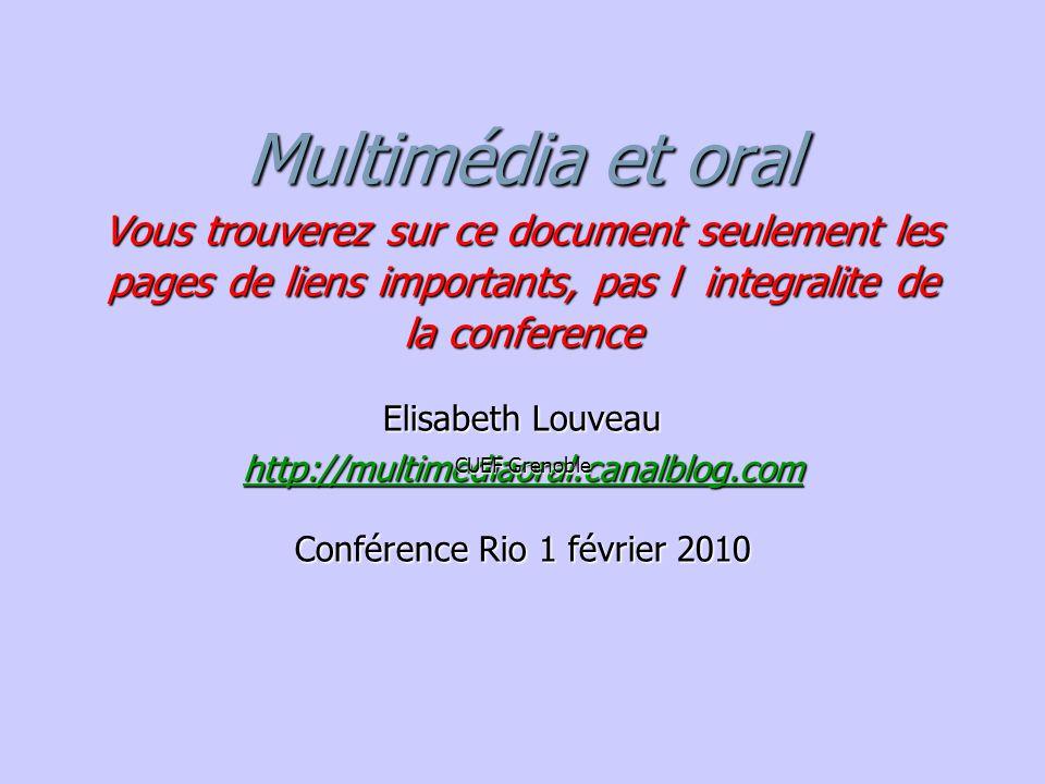 Elisabeth Louveau CUEF Grenoble Conférence Rio 1 février 2010
