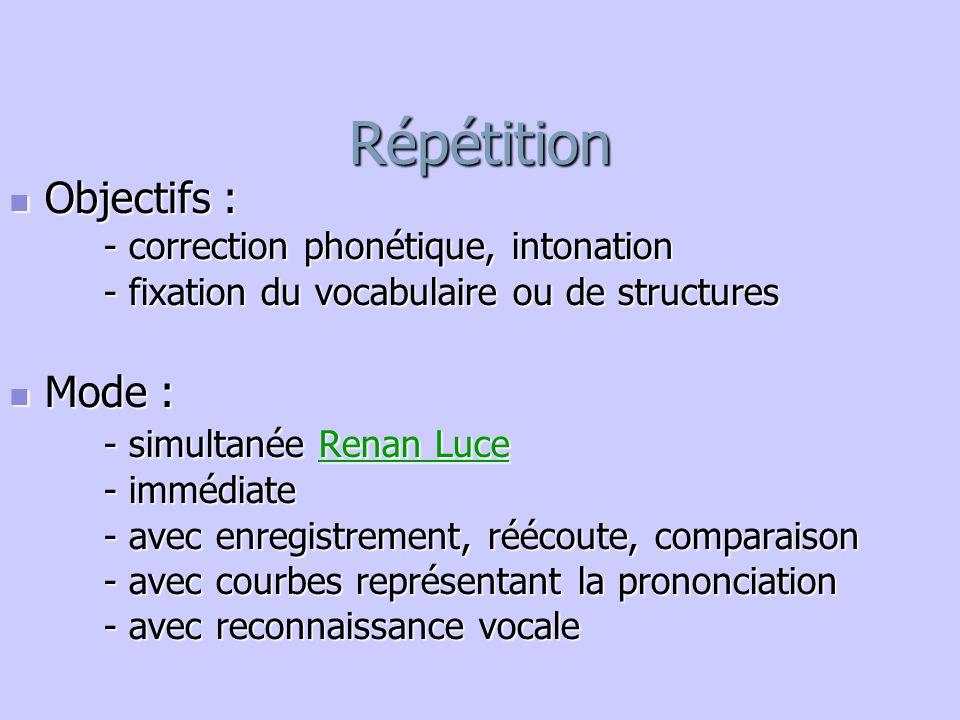 Répétition Objectifs : Mode : - simultanée Renan Luce