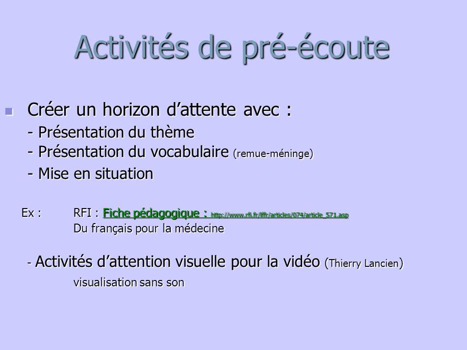 Activités de pré-écoute