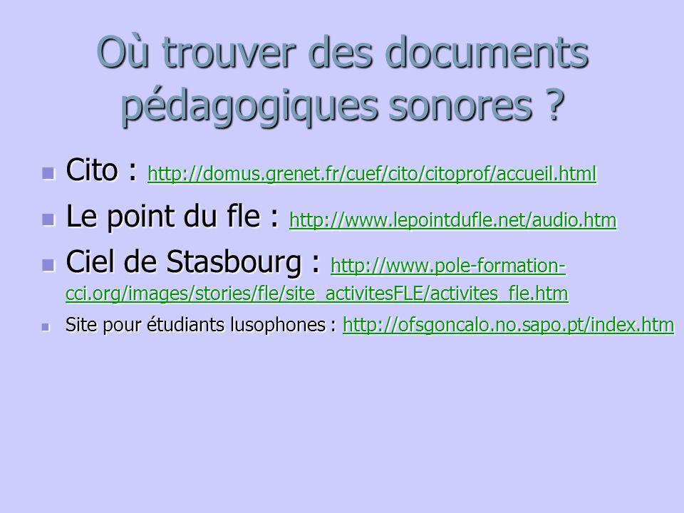 Où trouver des documents pédagogiques sonores